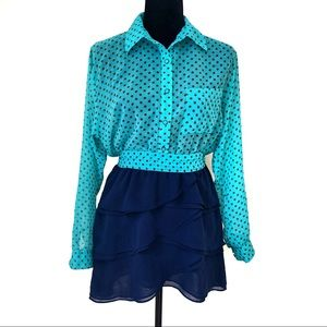 Polka dot 2-toned Longsleeves Dress